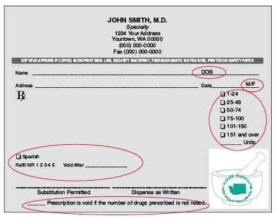 Washington Rx Form 2018